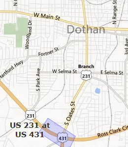 Map of Dothan, AL hotels
