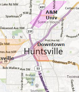 Map of Huntsville, AL hotels