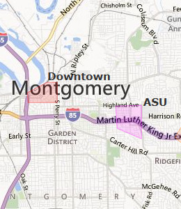 Map of Montgomery, AL hotels