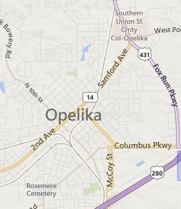 Map of Opelika, AL hotels
