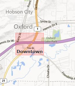 Map of Oxford, AL hotels