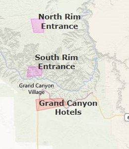 Map of Grand Canyon National Park, AZ hotels