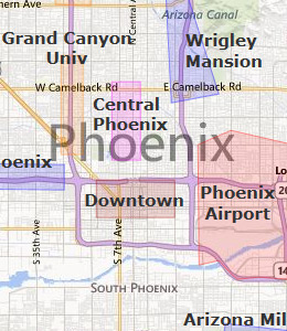 Map of Phoenix, AZ Hotels | HotelGuides com
