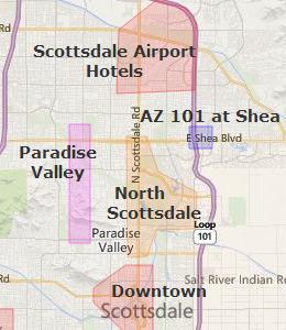 Map of Scottsdale, AZ Hotels | HotelGuides.com