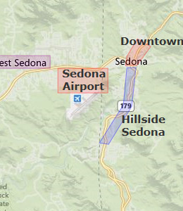 Map of Sedona, AZ hotels