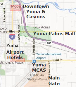 Map of Yuma, AZ hotels