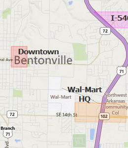 Map of Bentonville, AR hotels