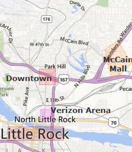 Map of North Little Rock, AR hotels