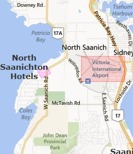 Map of Victoria Airport, BC hotels