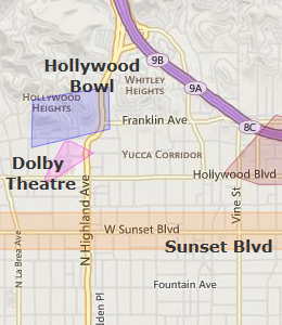 Map of Hollywood, CA hotels