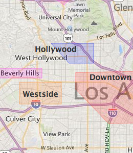 Map of Los Angeles, CA hotels