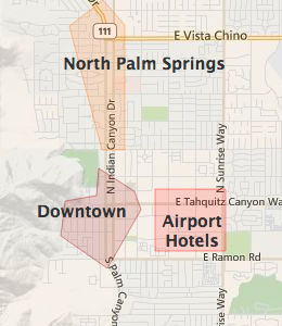 Map Of California Showing Palm Springs.Map Of Palm Springs Ca Hotels Hotelguides Com