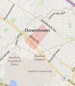 Map of Palo Alto, CA hotels