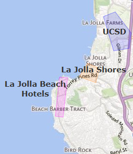 Map of La Jolla, CA hotels