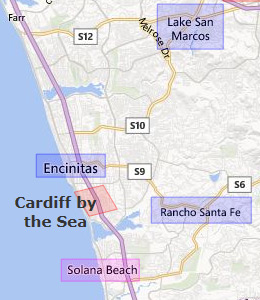 Map of North San Diego, CA hotels