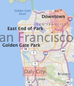 Map of San Francisco, CA Hotels | HotelGuides.com