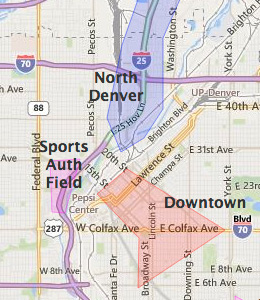 Map of Denver, CO hotels