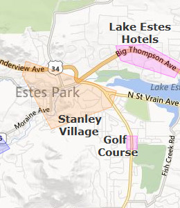 Map of Estes Park, CO hotels