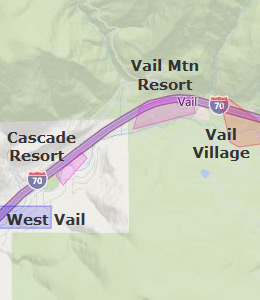 Map of Vail, CO hotels