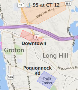 Map of Groton, CT hotels
