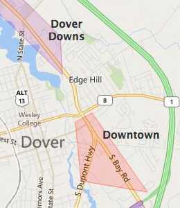 Map of Dover, DE hotels