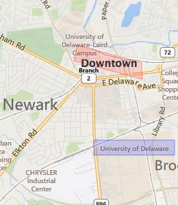 Map of Newark, DE hotels