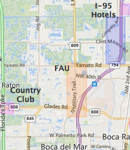 Map of Boca Raton, FL hotels