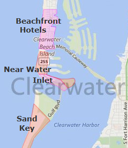 Map of Clearwater Beach, FL hotels