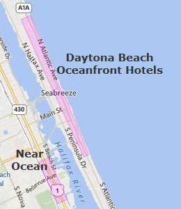 Map of Daytona Beach, FL hotels