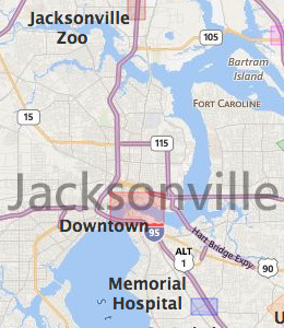 Map of Jacksonville, FL hotels