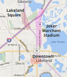Map of Lakeland, FL hotels