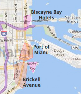 Map of Downtown Miami, FL hotels