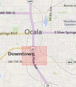 Map of Ocala, FL hotels