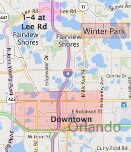 Map of North Orlando, FL hotels