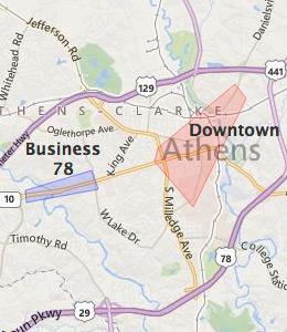 Map Of Georgia Athens.Map Of Athens Ga Hotels Hotelguides Com