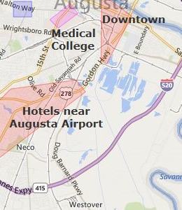 Map of Augusta, GA hotels