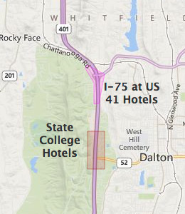 Map of Dalton, GA hotels