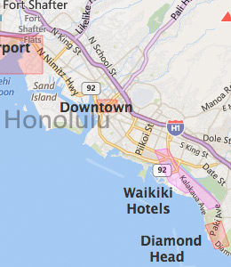 Map of Honolulu, HI hotels
