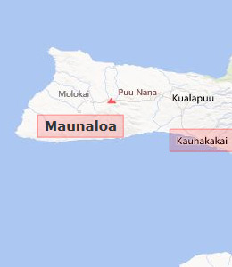 Map of Molokai, HI hotels