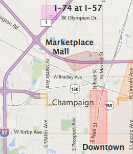 Map of Champaign, IL hotels