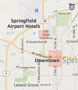 Map of Springfield, IL hotels