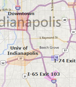 Map of Indianapolis, IN hotels