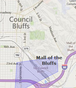 Map of Council Bluffs, IA hotels