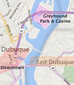 Map of Dubuque, IA hotels