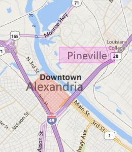 Map of Alexandria, LA hotels