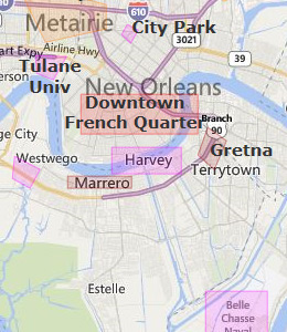 Map of New Orleans, LA hotels