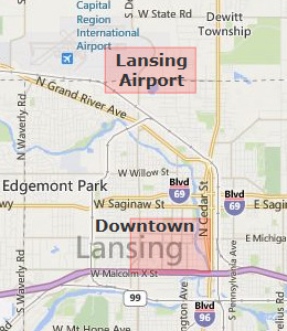 Map of Lansing, MI hotels