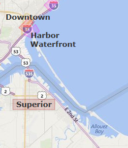 Map of Duluth, MN hotels
