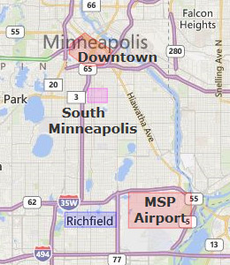 Map of Minneapolis, MN hotels