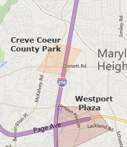 Map of Maryland Heights, MO hotels